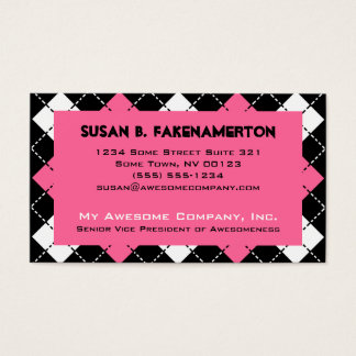 Pink Black and White Argyle Print Business Card