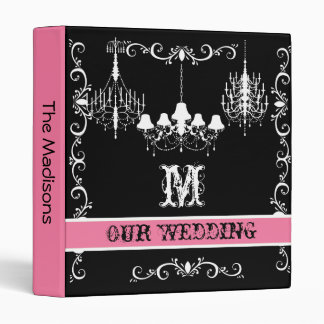 Pink, Black and White Chandelier Wedding Binder