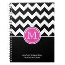 Pink Black And White Chevron Monogram Notebook