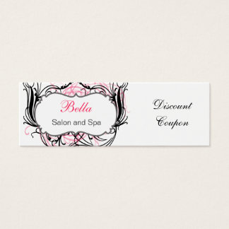 pink,black and white Chic discount coupon Mini Business Card
