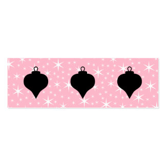 Pink, Black and White Christmas Design. Double-Sided Mini Business Cards (Pack Of 20)