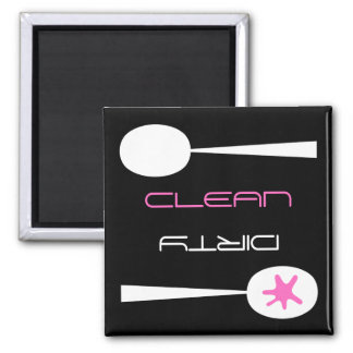 Pink, Black and White, Clean or Dirty Dishwasher Magnet