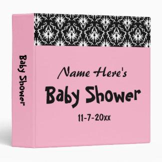 Pink Black and White Damask Baby Shower 3 Ring Binder