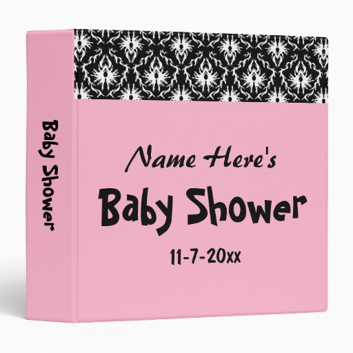Pink black and white damask baby shower binders zazzle