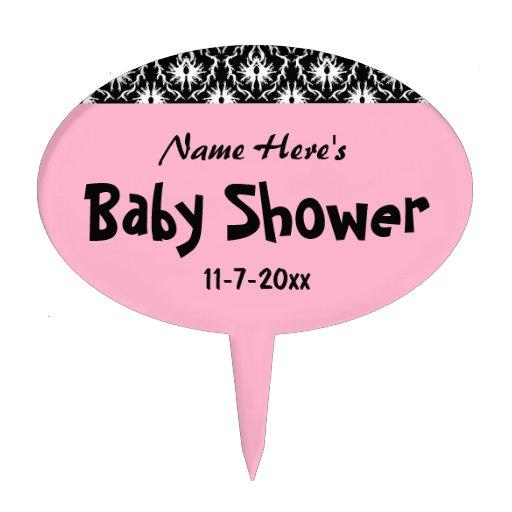 Pink black and white damask baby shower cake picks zazzle
