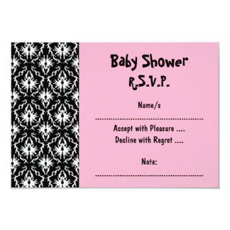 Pink Black and White Damask Baby Shower Card