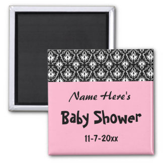 Pink Black and White Damask Baby Shower Refrigerator Magnet