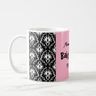 Pink Black and White Damask Baby Shower Classic White Coffee Mug