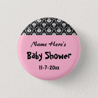 Pink Black and White Damask Baby Shower Pinback Button