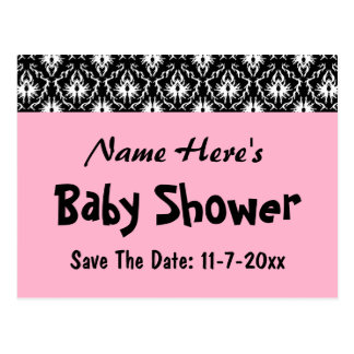 Pink Black and White Damask Baby Shower Post Card