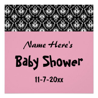 Pink Black and White Damask Baby Shower Poster