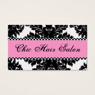 Pink Black and White Damask Business Cards