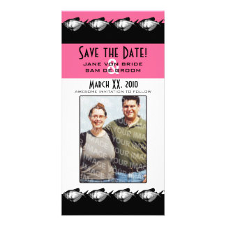 Pink, Black and White Fish Save The Date Personalized Photo Card