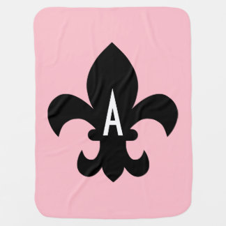 Pink Black and White Fleur de Lis Monogram Baby Blanket