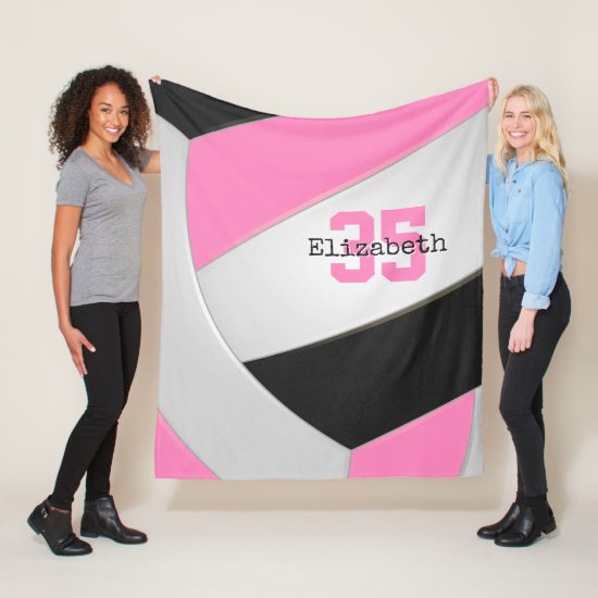 pink black and white girly volleyball personalized fleece blanket