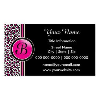 Pink, Black and White Jaguar Print Business Cards