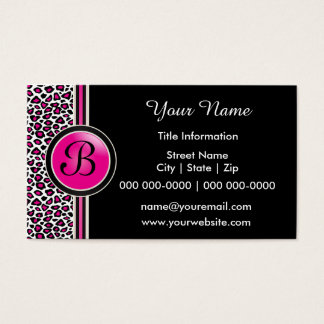 Pink, Black and White Leopard Print Business Card