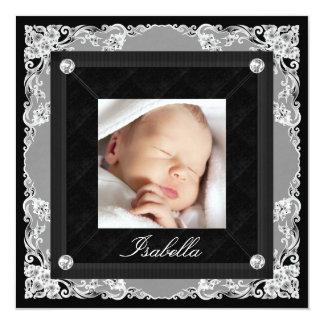 Pink Black and White Photo Birth Announcements