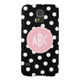 Pink Black and White Polka Dot Monogram Galaxy S5 Cases