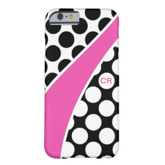 Pink Black and White Polka Dot Wave Monogram Barely There iPhone 6 Case