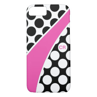 Pink Black and White Polka Dot Wave Monogram iPhone 8/7 Case