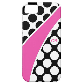 Pink Black and White Polka Dot Wave Monogram iPhone SE/5/5s Case