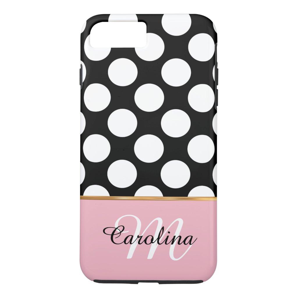 Pink, Black and White Polka Dots, Name & Monogram iPhone 7 Plus Case