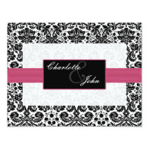 pink, black and white Save the date Card