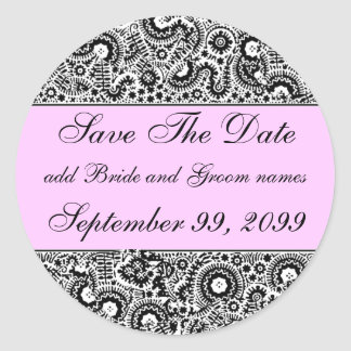 Pink Black And White Save The Date Reminders Classic Round Sticker