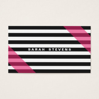 Pink Black and White Striped Modern Salon & Spa Business Card