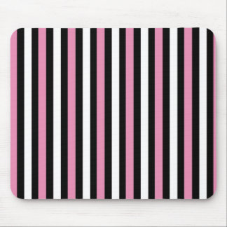 Pink, Black and White Stripes Mouse Pad