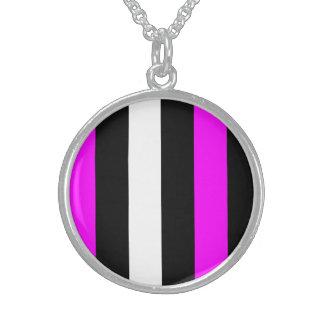 Pink Black And White Stripes Pendants