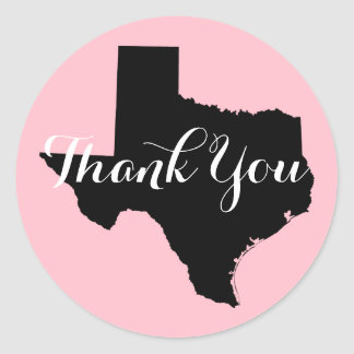 Pink Black and White Texas Wedding Thank You Classic Round Sticker