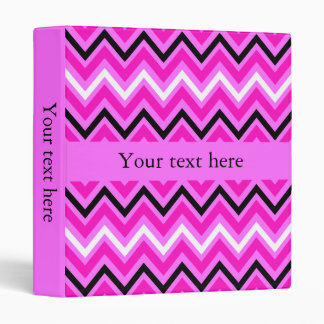 Pink, Black and White Zigzag Binder