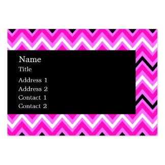 Pink, Black and White Zigzag Large Business Card