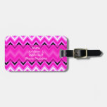 Pink, Black and White Zigzag Travel Bag Tag