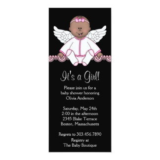 Pink & Black Angel Baby Girl Shower Invitations