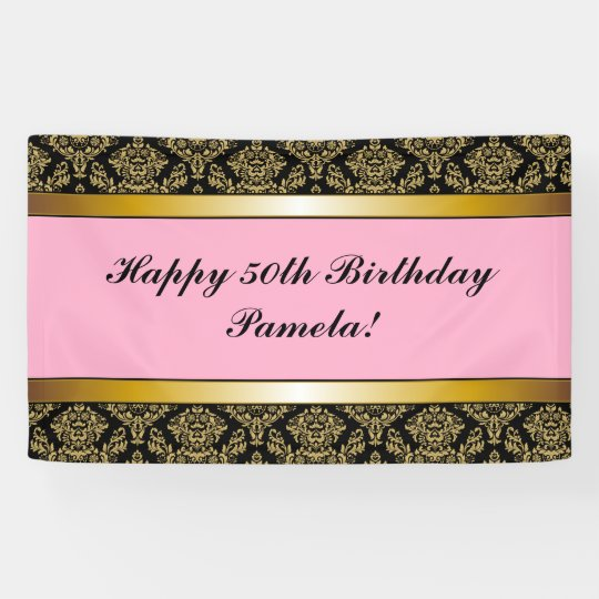 pink black any age gold damask birthday banner zazzle com