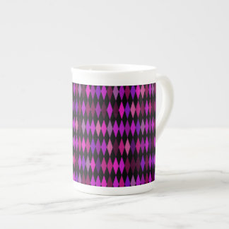 pink black argyle diamond pattern porcelain mugs