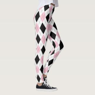 Pink Black Argyle Girl Pattern Trendy Fashionable Leggings