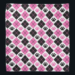 """Pink &amp; Black Argyle Paw Print Pattern Bandana<br><div class=""""desc"""">Show off your love of animals with this cute paw print themed bandana. This item displays a pink and black argyle paw print pattern. Maybe you&#39;re searching for a special gift for an animal lover in your life? This product is a great gift for cat owners, dog owners, veterinarians, vet...</div>"""