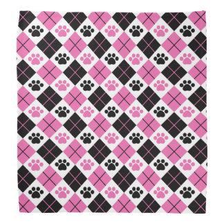 Pink & Black Argyle Paw Print Pattern Bandana