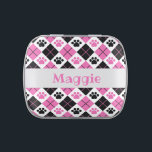 """Pink &amp; Black Argyle Paw Print Pattern Candy Tin<br><div class=""""desc"""">Show off your love of animals with this awesome paw print themed candy tin. This item displays a pink and black argyle paw print pattern. Maybe you&#39;re searching for a special gift for an animal lover in your life? This product is a great gift for cat owners, dog owners, veterinarians,...</div>"""