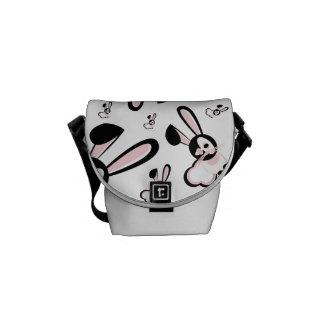 Pink & Black Art Bunny Design Messenger Bag