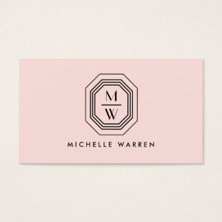 Pink/Black Art Deco Monogram Beauty Business Card