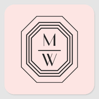 Pink/Black Art Deco Monogram Beauty Stickers
