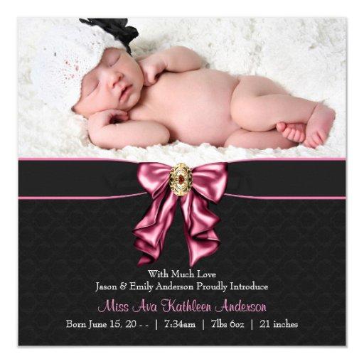 "Pink Black Baby Girl Photo Birth Announcement 5.25"" Square Invitation Card"