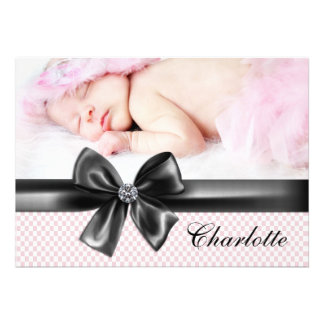Pink Black Baby Girl Photo Birth Announcements