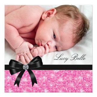 Pink Black Baby Girl Photo Birth Custom Invitation