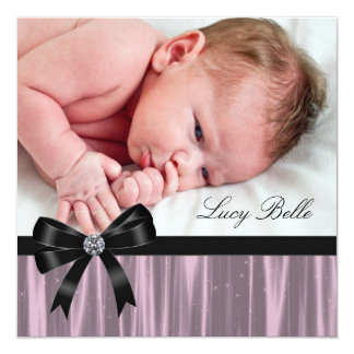 Pink Black Baby Girl Photo Birth 5.25x5.25 Square Paper Invitation Card